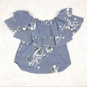 Style Envy Blue White Off Shoulder Ruffle Top